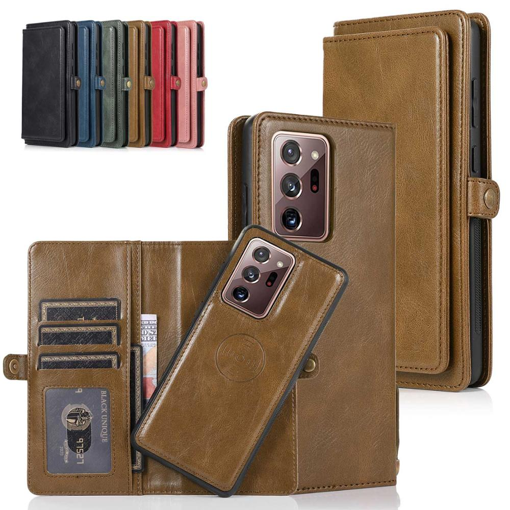 Flip Leather Case For Samsung Galaxy Note 20 Ultra Detachable Magnetic Wallet Phone Cover For Samsung Note 20 S21 S20 A52 A72 S9