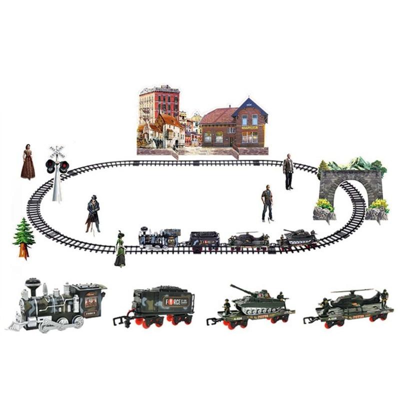 Children Electric Remote Control Rail Train Set Simulation Assembly Model Toy Q6PD