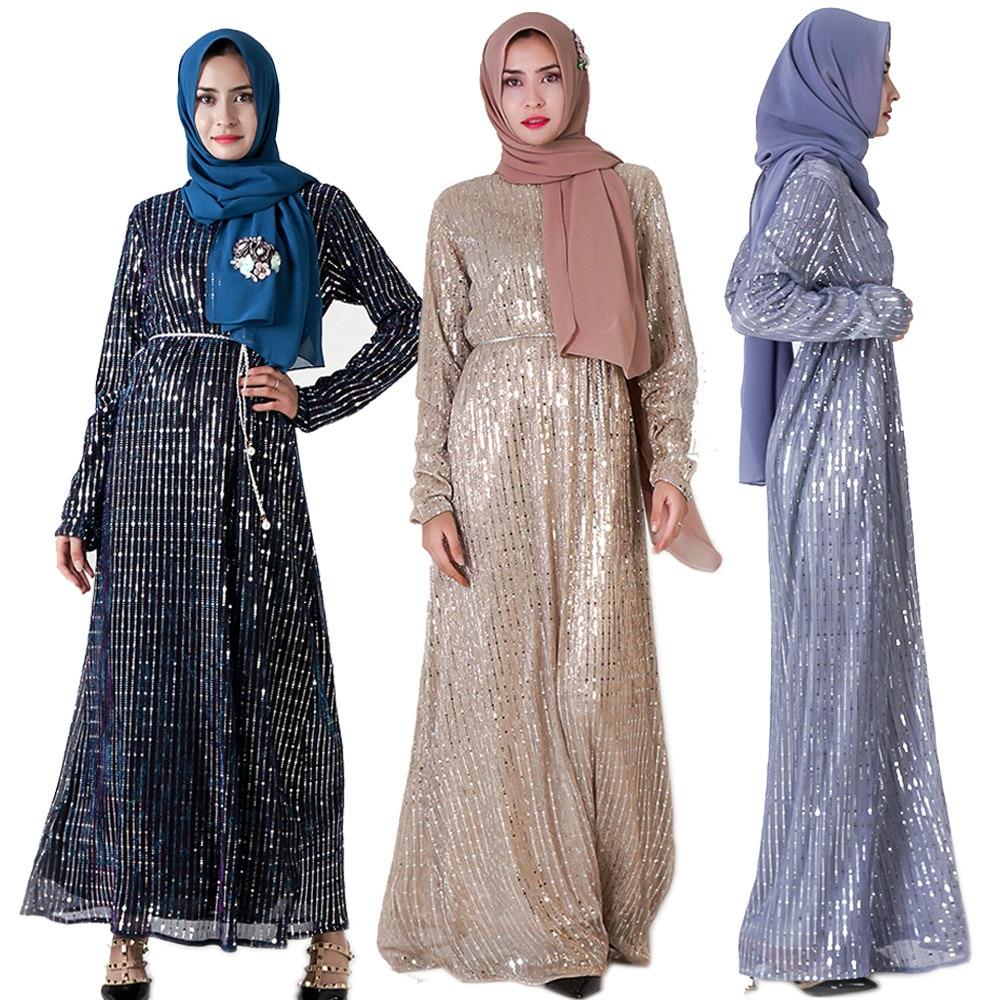Abaya Dubai Kaftan Sexy Women Elegant sequined dress Muslim Hijab Dress caftan marocain islamic dress bangladesh pakistani dress