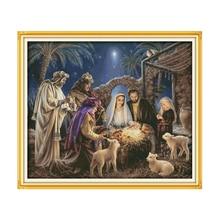 المهد اليدوية DIY عبر الابره عدة ، المخلص يسوع الدينية أرقام DMC التطريز التطريز صورة معلقة
