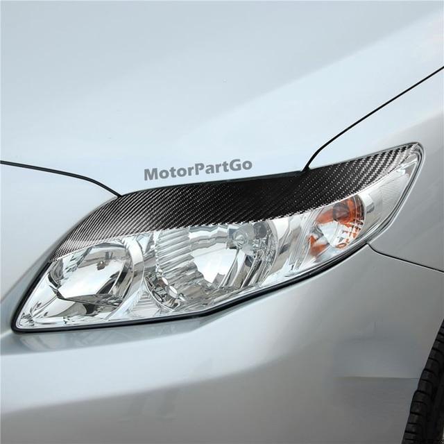 Real Crabon Fiber Head light Eyelid Eyebrow Cover Trim 1pair for Toyota Corolla 2008-2011 T225 2