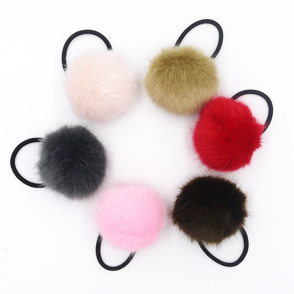 1pcs Fluffy Ball Pom Pom Hair Ties Hair Accessories Head Bands Elastics Hair Ropes Ponytail Holder Hair Bands For Girls