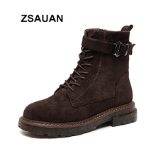 ZSAUAN High Top Casual Women Boots Ankle Fashion Zip Middle Heel Retro Winter Warm Furry Booties Desert Motorcycle Female Shoes
