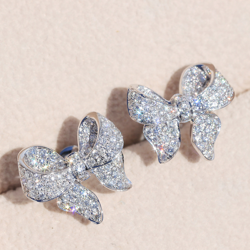 Simple 925 Sterling Silver Big Dazzling Bowknot CZ Zircon Crystal Stud Earrings For Women S925 Needle Wedding Jewelry
