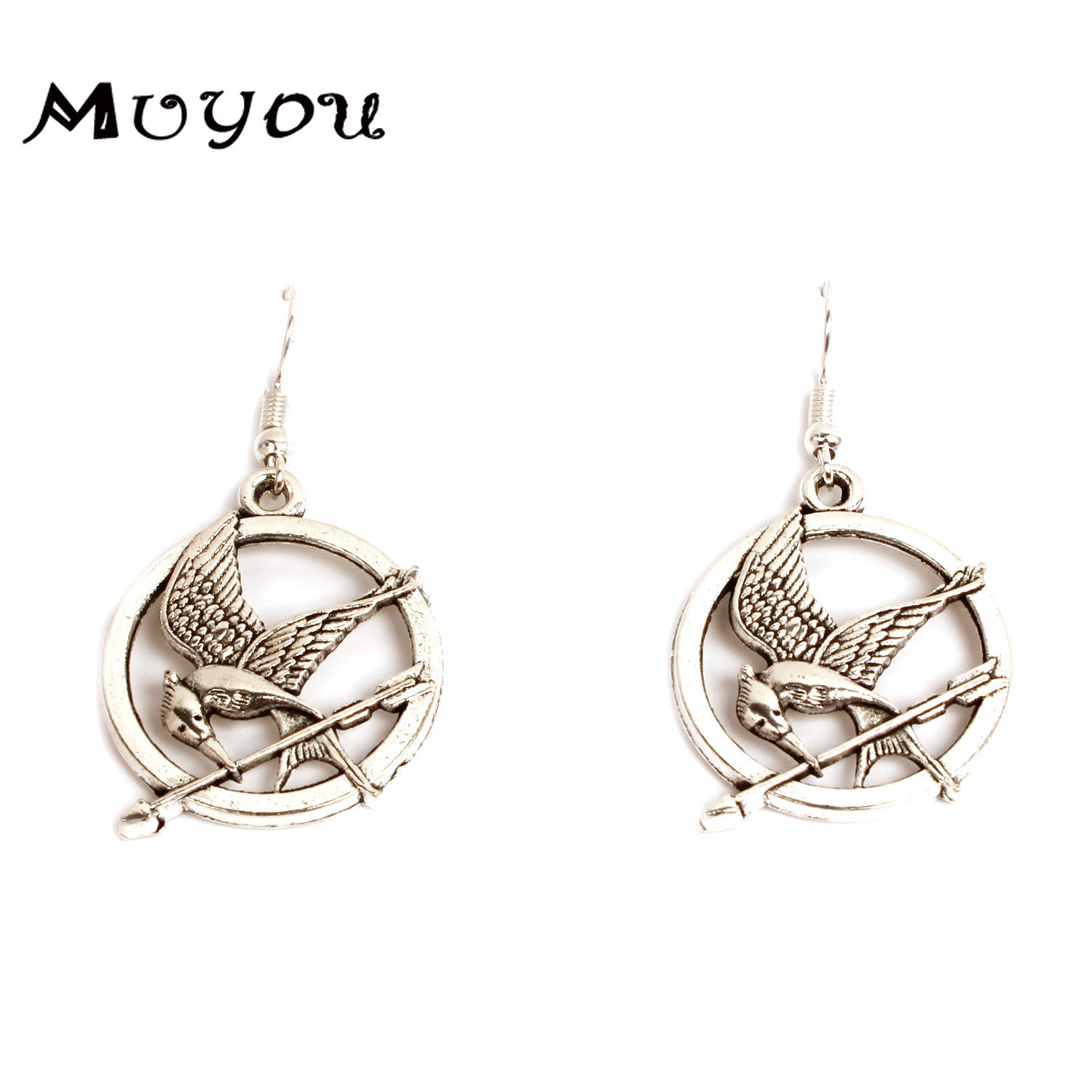 The Hunger Game Sign Hungry Laughing Bird Pendant Earrings Silver Vintage Personality Accessories Creative Fashion JewelleryE075