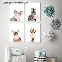 Affiche imprimée en toile avec bulles de gomme, girafe zèbre Koala, peinture murale, décoration de maison, pépinière, 07G
