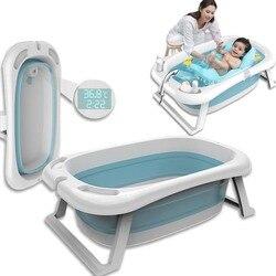 Baignoire pliante enfants couché température électronique universel bain baril surdimensionné bébé nouveau-né fournitures bébé baignoire
