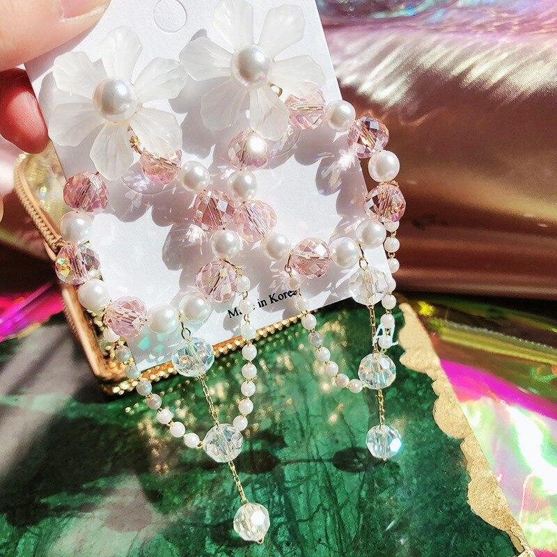 MENGJIQIAO New Arrived Korean Elegant Acrylic Flower Drop Earrings Pink Beads Tassel Pendientes Mujer Moda Statement Jewelry