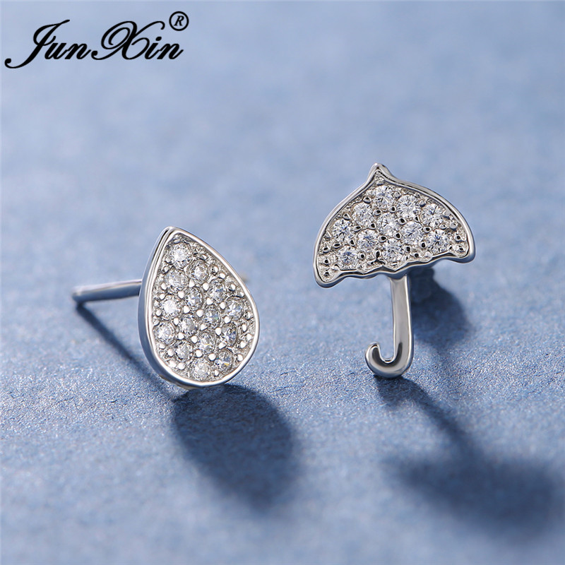 Cute Asymmetric Water Droplets Umbrella Earrings For Women White Gold Filled Wedding Stud Earrings For Women Zircon Jewelry Cz
