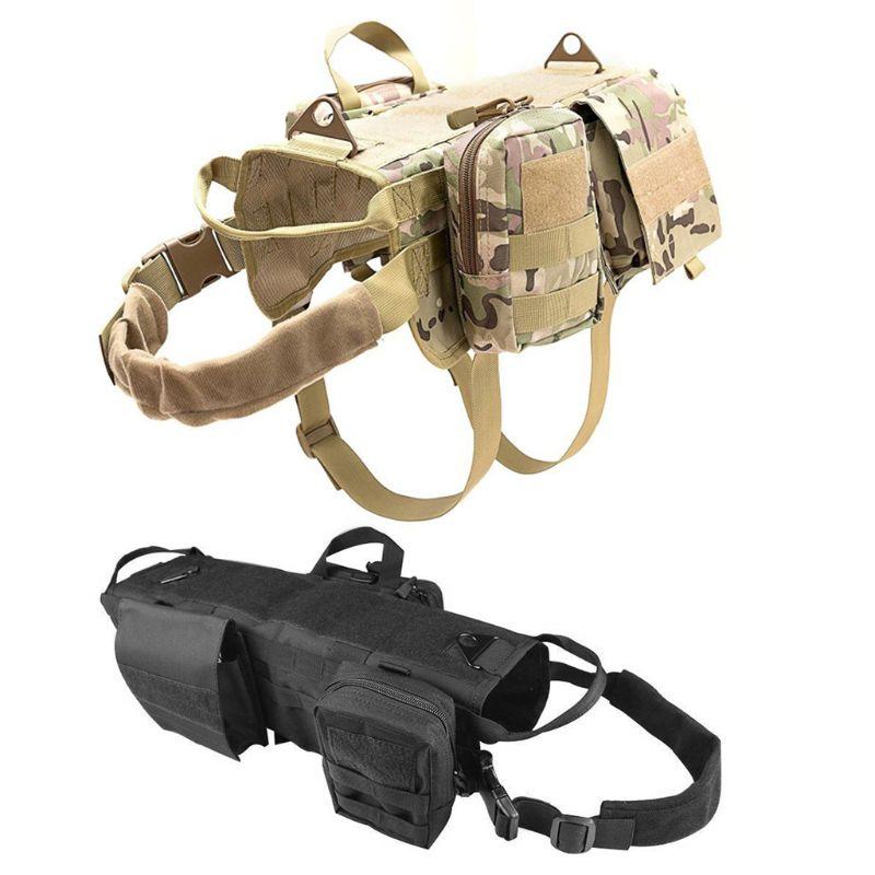 Tactical Dog Training Vest Harness Detachable Pouches Military K9  Harness Large Dog Training EquipmentDog Vests