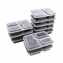10 шт пластиковый многоразовый ящик для хранения еды, Ланч-бокс, 3 отсека, многоразовые контейнеры для разогревания, домашний Ланчбокс