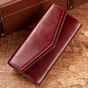 Image 4 - KAVIS Genuine Leather Wallet Female Coin Purse Women Portomonee Clutch  Lady Clamp for Phone Bag Zipper Card Holder Handy Perse