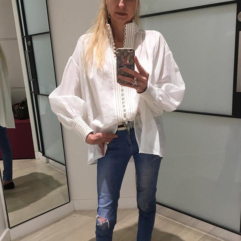 Automne piste Designer hauts 2019 simple boutonnage lâche décontracté blanc coton Blouses femmes à manches longues chemise