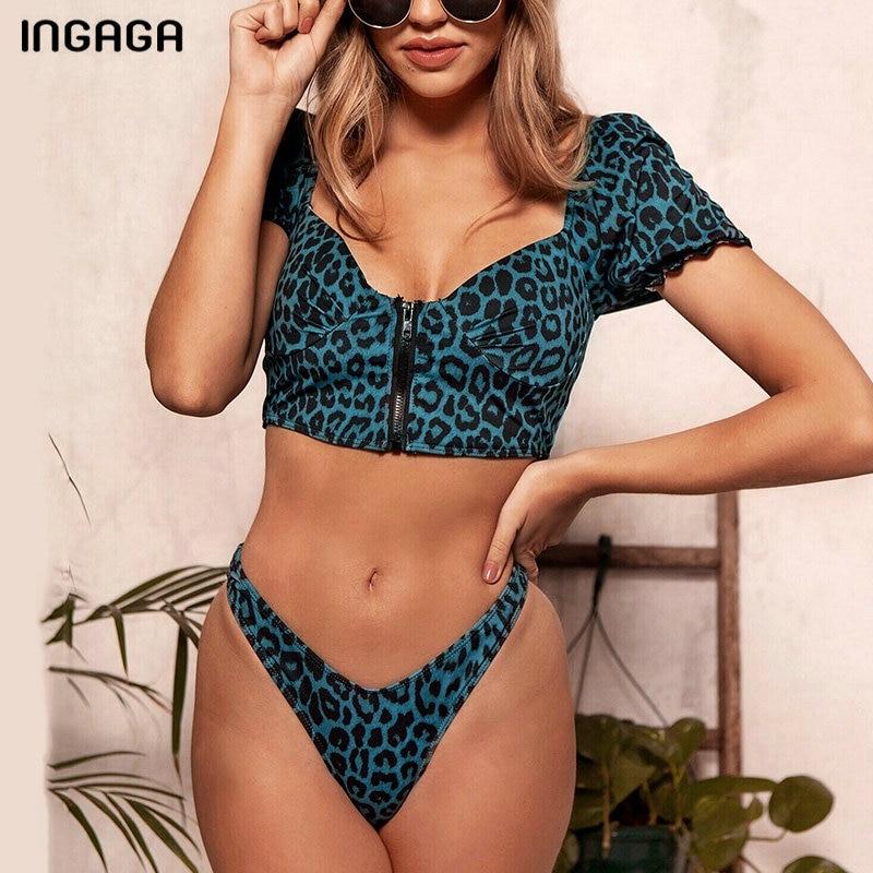 INGAGA Thong High Cut Bikinis Sexy Zipper Swimwear Women 2020 Short Sleeve Biquini Swimsuit New Beach Leopard Bathing Suit