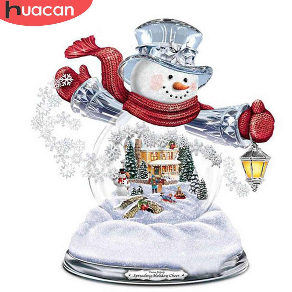 HUACAN Санта-Клаус бриллиантовый рисунок Рождество украшение дома Алмазная мозаика вышивка бисером картина полный комплект