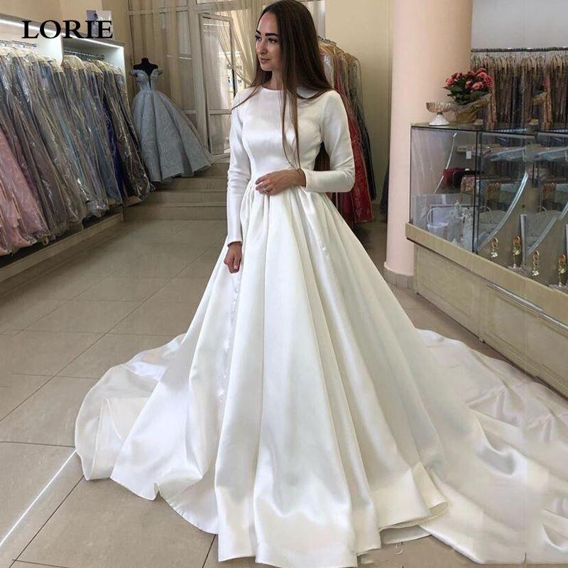 LORIE Princess Wedding Dresses Satin Long Sleeve Muslim Wedding Bride Dresses Long Train White Wedding Gown Vestido De Novia
