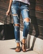 Boyfriend pantalones vaqueros rasgados para damas, Vaqueros rasgados para damas, populares, Vintage, ajustados, de realce, de cintura alta, informales, ajustados