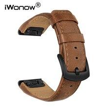 Quick Fit Cinturino In Pelle 22 millimetri per Garmin Fenix 6/6 Pro/5/5 Plus/Forerunner 945/935/Approccio S60/Instinct Watch Band Strap