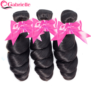 Gabrielle Loose Wave Bundles Brazilian Human Hair Weave Bundles Natural Color 8-24 inch Remy Hair Extensions