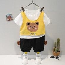 Summer Clothes Baby Boy Sets Korean Newborn Kids Short Sleeve Cartoon Patchwork T-Shirt+Black Shorts Two-Piece Casual Baby Suit