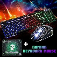 Gaming Keyboard and Mouse Set T6 Rainbow Backlight Usb Ergonomic For PC Laptop Clavier Xbox PS4 Mouse Kit Pad Gamer Keyboard tecknet gaming office mouse pad mat ergonomic mousepad build in soft sponge with gel rest wrist support