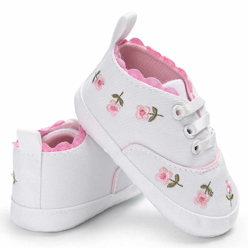 Newborn Infant Baby Girls Floral Crib Shoes Soft Sole Anti-slip Sneakers Canvas Spend Some LaceCasual Shoes