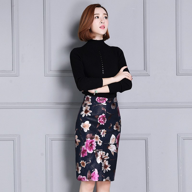 Luxury High Quality Sheepskin Womens Floral Printing Wrap Skirts High Waist Knee Length Real Leather Ladies Skirts Plus Size 4XL