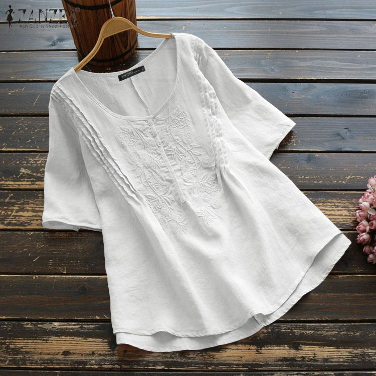 Summer Vintage Embroidery Blouse ZANZEA Women Short Sleeve Tunic Tops Casual Solid Cotton Work Loose Shirts Female Blusas Robe 7