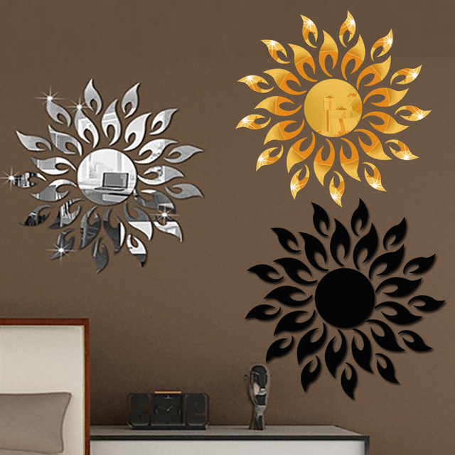1set 3d Mirror Wall Stickers Sun Flower Flame Decorative Stickers Room Decoration Home Decor Living Room Luxury Style Bedroom 1