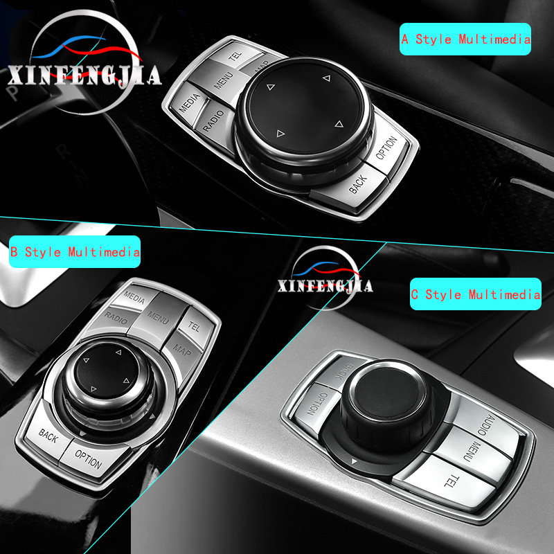 For BMW 1 2 3 4 5 6 7 Series X1 X3 X4 X5 X6 3GT 5GT F30 F10 Chrome Plating ABS IDrive Center Multimedia Button Cover Trim