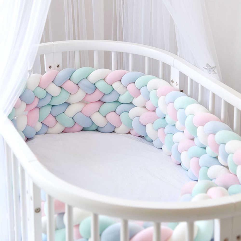 3 metros 4 hebras bebé cuna parachoques anudado cama trenzada parachoques hecho a mano almohadilla cojín cuna decoración cuna Protector