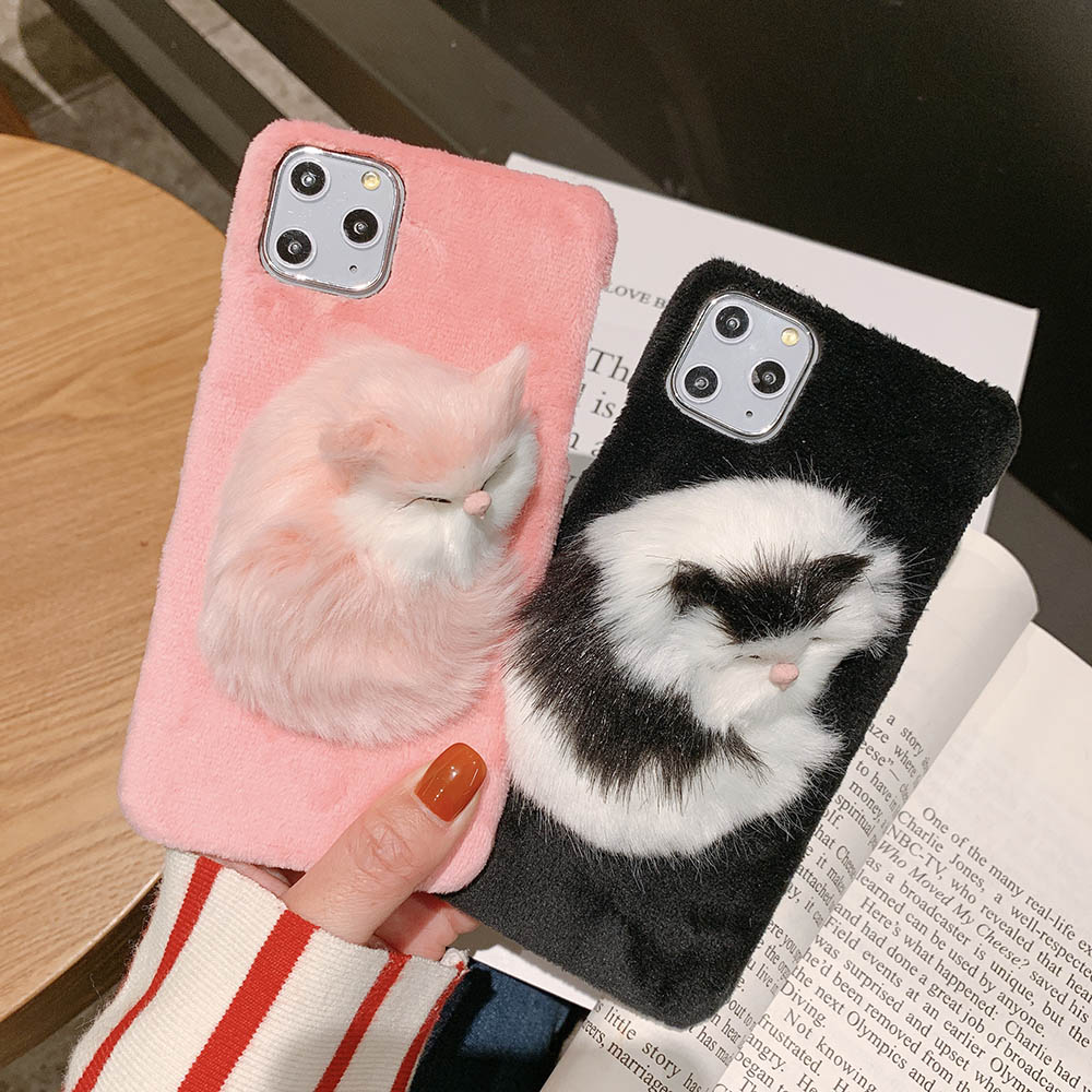 Lovely 3D Cartoon <font><b>Cat</b></font> Fuzzy <font><b>Case</b></font> for <font><b>iPhone</b></font> 11 Pro XS Max XR X Furry Shell Plush Cover for <font><b>iPhone</b></font> <font><b>8</b></font> 7 6S Plus Hard Capa Hoesjes image