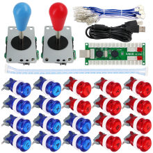 Favor SJ@JX Arcade Game 2 Player Controller DIY Kit Buttons with Logo Start Select 8 Way Joystick USB Encoder for PC MAME Raspberry Pi deal