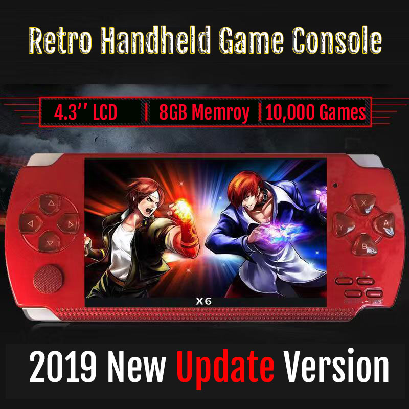New Retro Game Console 4.3 inch In Built 8GB For PSP/MP4  Video/MP5/Camera/E book Portable Retro Game PlayerHandheld Game  Players