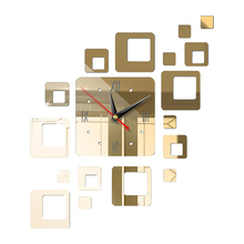 Акриловые зеркальные 3D настенные часы для ванной квадратная комбинация яркие легко устанавливаемые самоклеящиеся для спальни современный дизайн офисные часы для дома