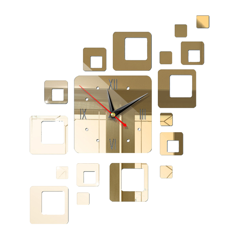 Acrylic Mirror 3D Wall Clock Bathroom Square Combination Bright Easy Install Bedroom Adhesive Modern Design Office Clock Home