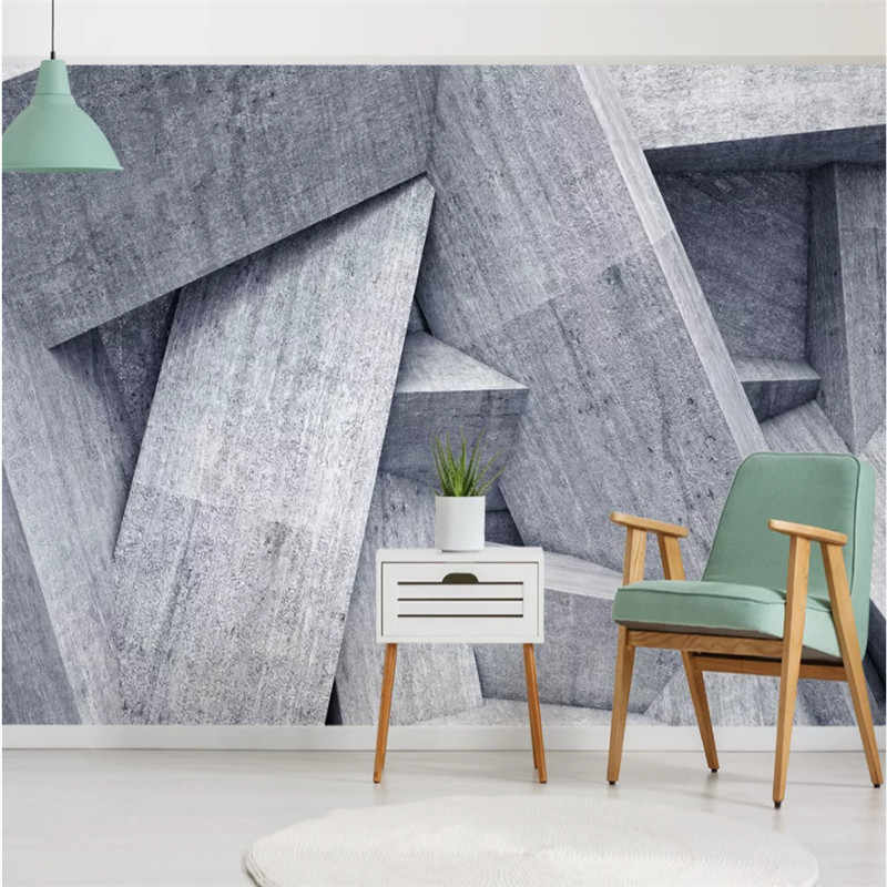 3d Stereoscopic Geometric Gray Cement Background Wall Paper Restaurant Cafe Studio Living Room Industrial Decor Mural Wallpaper Wallpapers Aliexpress