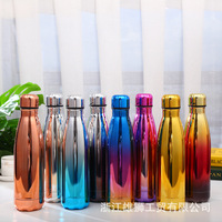 New Electroplating Coke Bottle Creative Gradient Stainless Steel Vacuum Flask Simple Sports Outdoor Portable Water Cup Custom