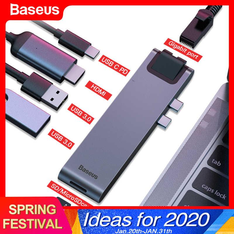 Baseus USB type C HUB C vers HDMI RJ45 Ethernet Multi USB 3.0 Thunderbolt 3 adaptateur secteur pour MacBook Pro Air USB-C répartiteur de quai