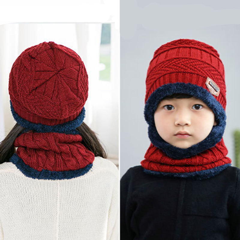 Kids Winter Warmer Hat with Ear Flaps Girls Boys Knitted Fleece Beanie Cap Scarf