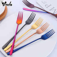 8 Colors Stainless Steel Dinner Fork Set Korea Colourful Dessert Fork With Long Handle Gold Blue Fork Set for Hotel Party