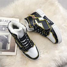 Winter Men's Sneakers Pikachu Velvet Thickening Couple High Shoes