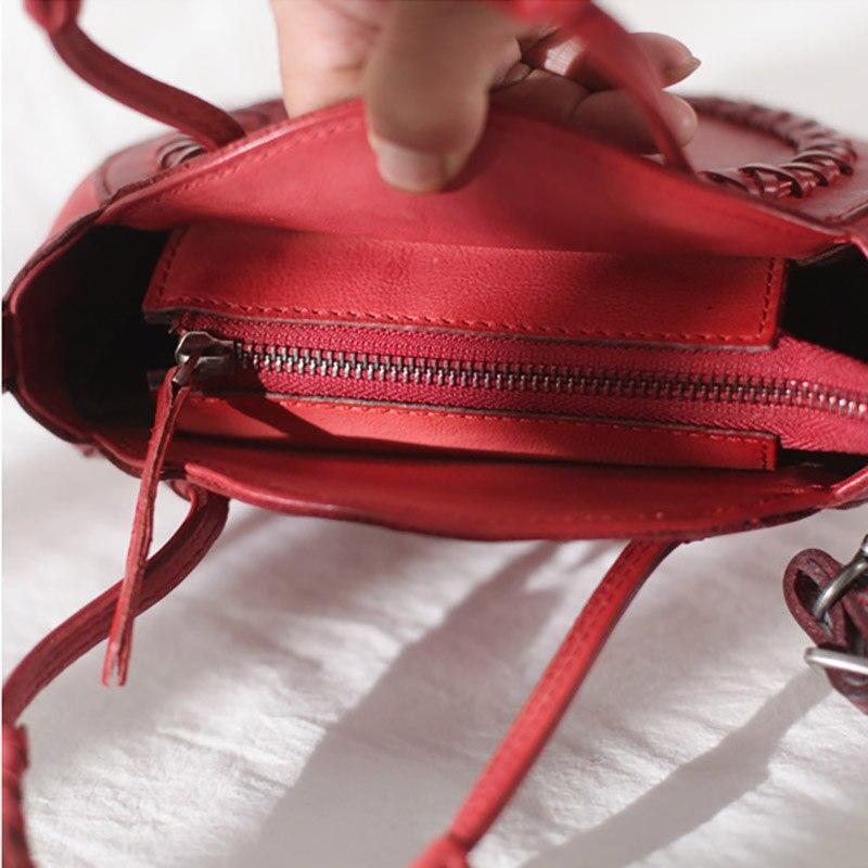 Bolso redondo de cuero rojo de EUMOAN, bolso con diseño oblicuo para mujer, 2019 retro literario stream su pequeño bolso redondo - 4