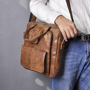 Quality Genuine Leather Male Design Casual College Shoulder Messenger Crossbody bag Fashion Mochila Satchel School Tote bag 8086