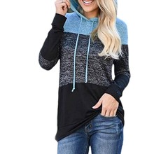 Women Autumn Loose Long Sleeve Hoodies Plus Size Sweatshirt Casual Simple Patchwork Color