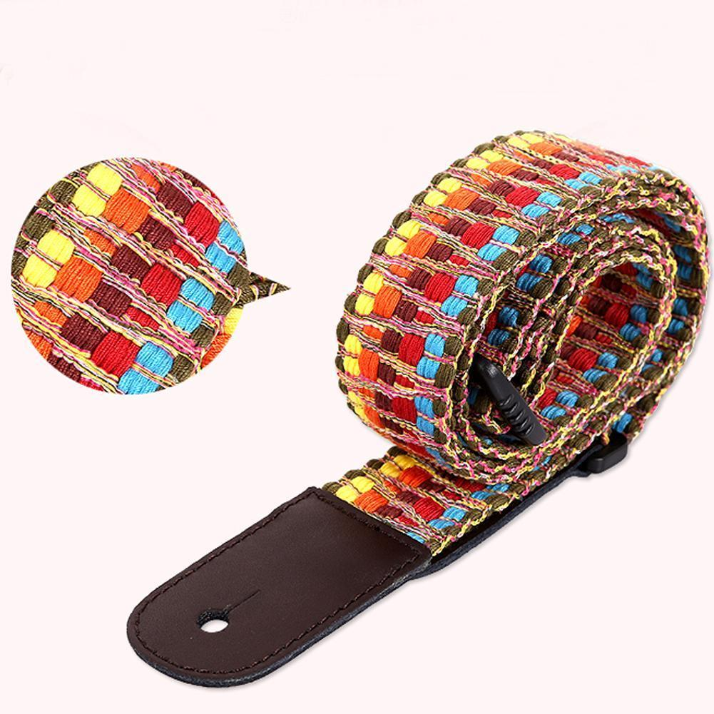Ethnic Style Ukulele Shoulder Strap Rainbow Colorful Small Crossover Adjustable Accessories Ukulele Diagonal Guitar X8F3