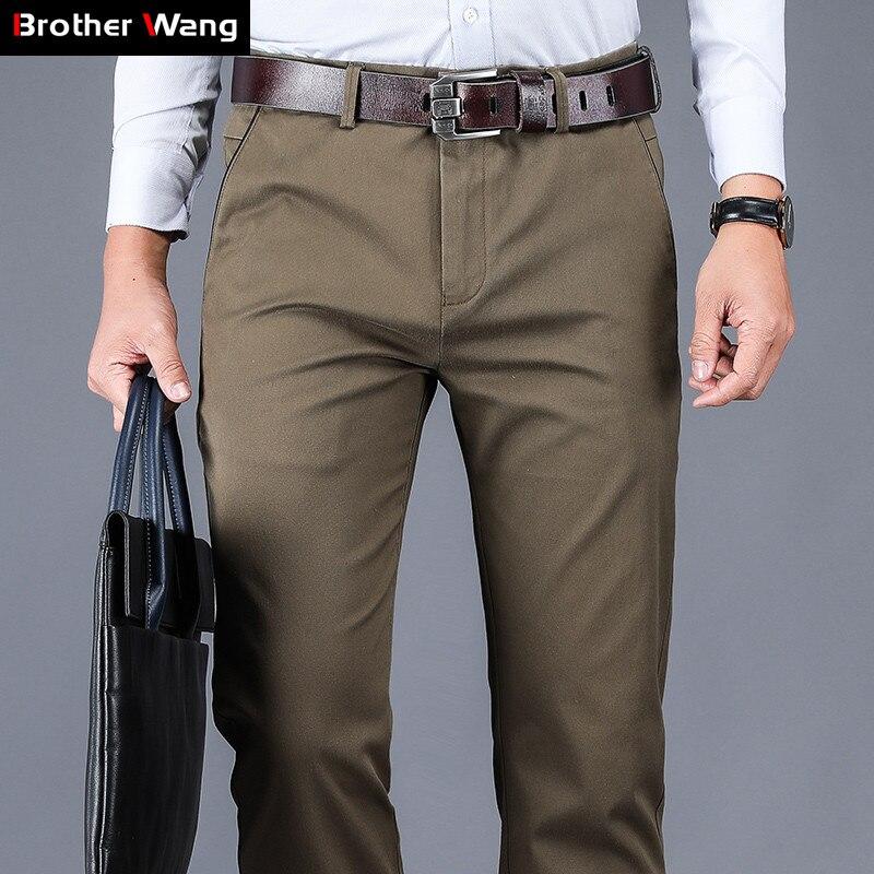 4 couleurs 98% coton pantalons décontractés hommes 2020 nouveau Style classique droite ample taille haute élastique pantalon mâle marque vêtements