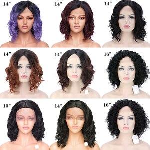 Image 5 - SNOILITE short ombre bob u part lace front wig Synthetic free lace part 12.5*3 lace front wig Bob wavy hair wigs for women