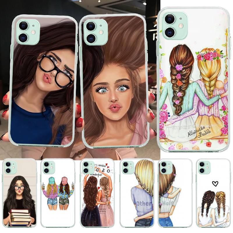 HPCHCJHM Girls Brunette Blonde Best Friends BFF Matching Phone <font><b>Case</b></font> <font><b>Capa</b></font> for <font><b>iPhone</b></font> 11 pro XS MAX 8 7 6 <font><b>6S</b></font> Plus X 5S SE XR cover image