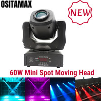 free ship Mini 60w LED Moving Head Stage Disco Light Spot Gobo Light Flower Effect Rotation DJ Equipment 60w DMX Spot Light